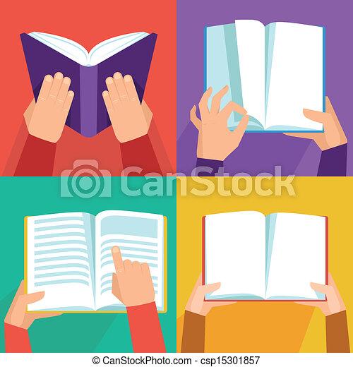 Vectores de mano sosteniendo libros - csp15301857