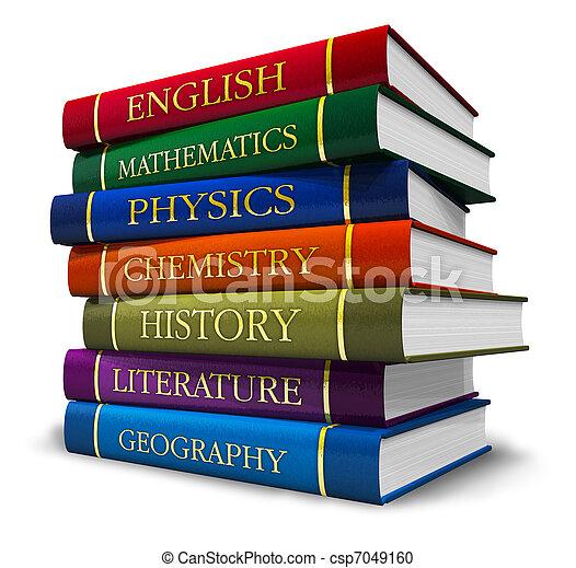Un montón de libros de texto - csp7049160