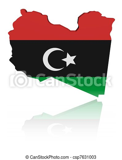 Libya map flag with reflection illustration - csp7631003