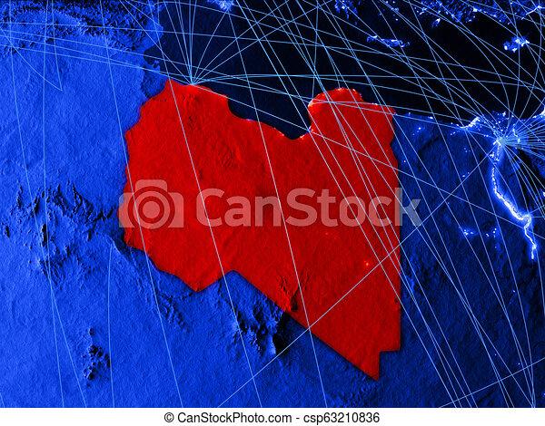 Libya on blue blue digital map - csp63210836