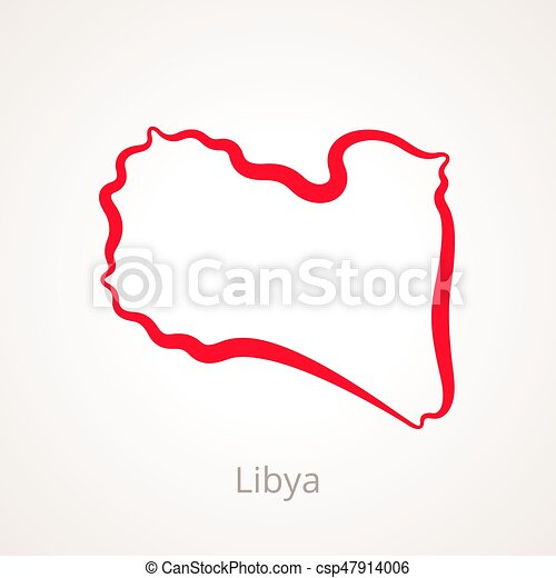 Libya Outline Map Outline Map Of Libya Marked With Red - Libya blank map