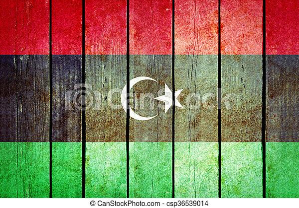 Libya wooden grunge flag. - csp36539014