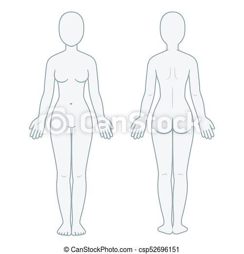 lichaam, voorkant, back, vrouwlijk - csp52696151