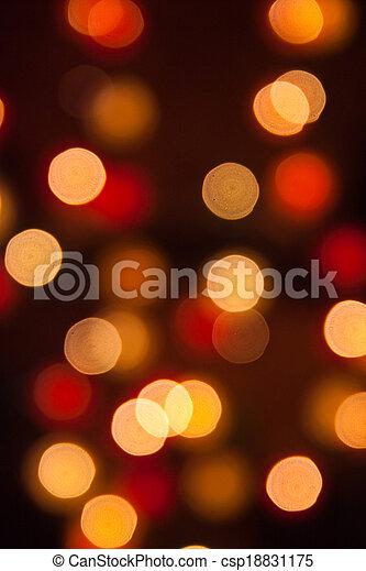 licht, abstrakt, fokus, lichter, hintergrund, während, nacht, heraus - csp18831175