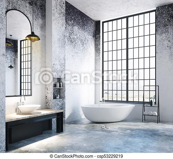 Licht, badezimmer, leerer , dachgeschoss, copyspace. Stadt ...