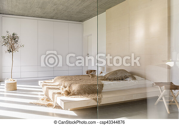 Koning, licht, bed, slaapkamer, kleerkast, witte , grootte beeld ...