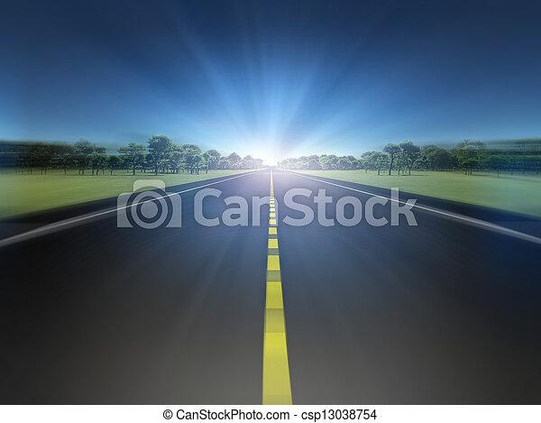 Straße in grüner Landschaft in Richtung Licht - csp13038754