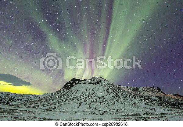 licht, dageraad, noordelijk, borealis - csp26982618