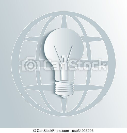 Vector Glühbirne Illustration mit Globuskarte. - csp34928295