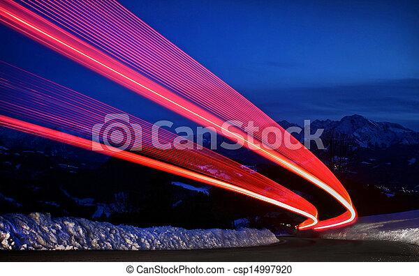 licht, landstraße, spuren - csp14997920