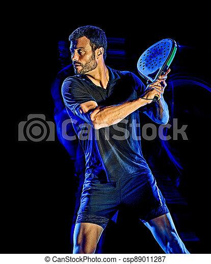 licht, mann, freigestellt, gemälde, spieler, hintergrund, schwarz, paddel, tennis - csp89011287