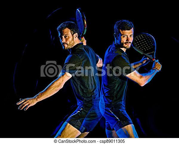 licht, mann, freigestellt, gemälde, spieler, hintergrund, schwarz, paddel, tennis - csp89011305