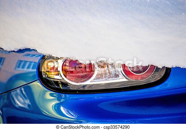 licht, schnee, auto - csp33574290