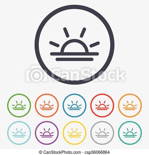Licht, symbol., lampe, sonnenuntergang, zwiebel, icon., oder. Frame ...