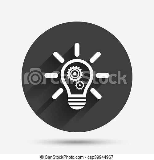 Licht, symbol., zeichen, lampe, zahnräder, zwiebel, icon.... Clipart ...