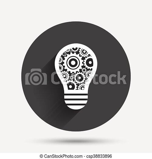 Licht, symbol., zeichen, lampe, zahnräder, zwiebel, icon. Idee ...