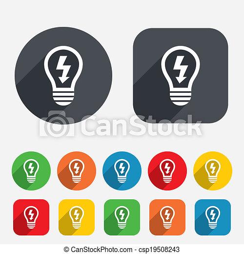 Licht, symbol, zeichen, lampe, zwiebel, icon., blitz. Kreise ...