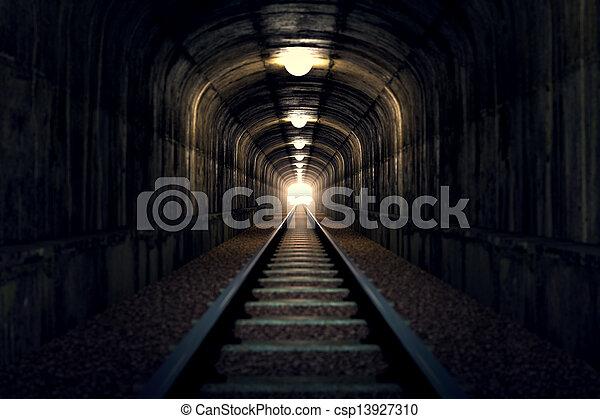 licht, tunnel., ende - csp13927310
