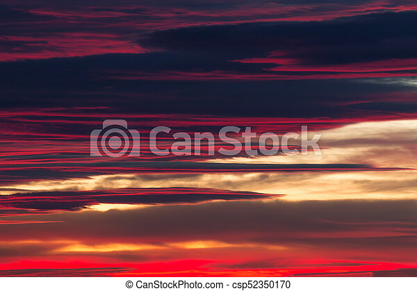 licht, wolkenhimmel, sonnenuntergang, nett - csp52350170