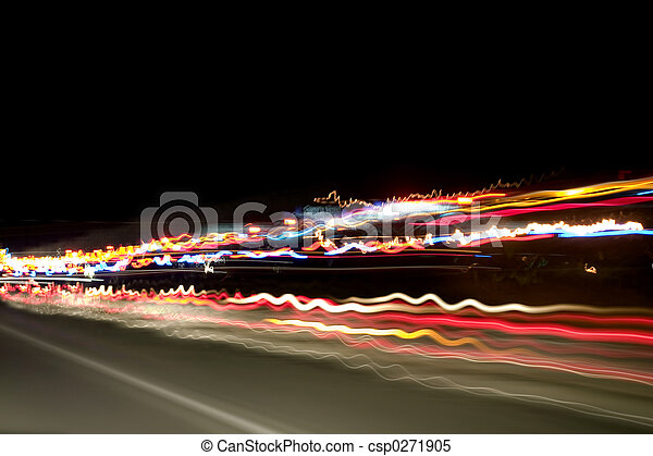 lichten, snelweg, nacht - csp0271905