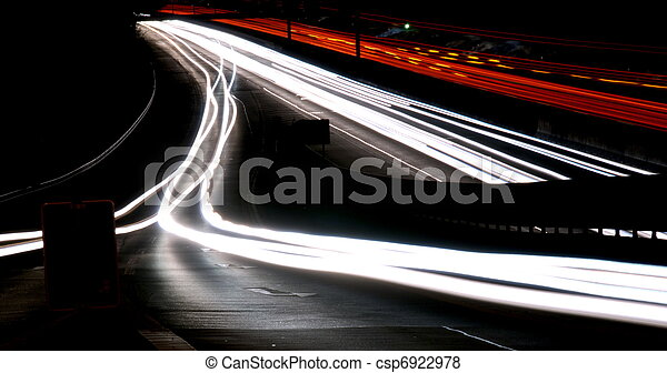 lichter, nacht, landstraße, verwischt - csp6922978