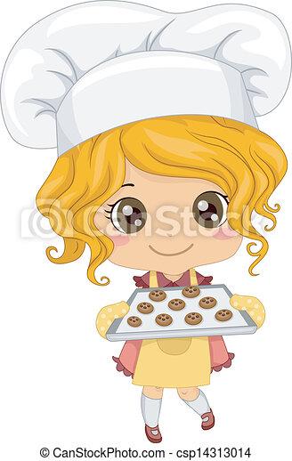 liden, bagning, pige, småkager - csp14313014