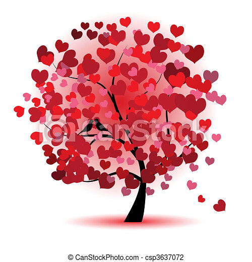 liebe, blatt, baum, herzen, valentine - csp3637072