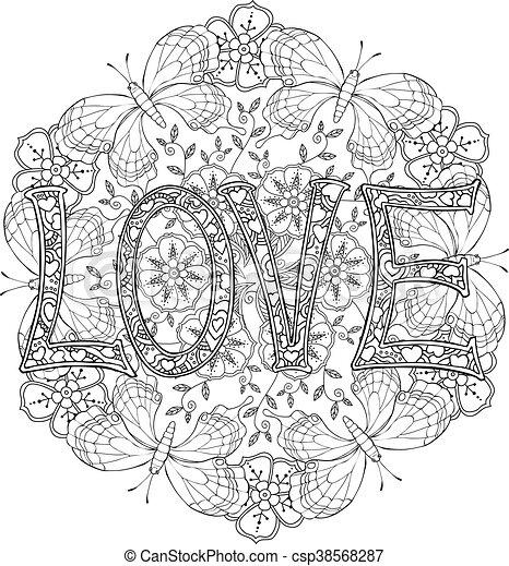 Liebe text hand monochrom vlinders gezeichnet briefe - Mandala amour ...