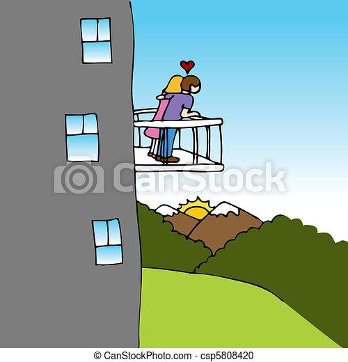 Liebhaber Balkon Ansicht Liebe Paar Schauen Ansicht Bild