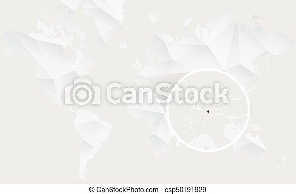 Liechtenstein map with flag in contour on white polygonal