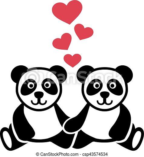 liefde, twee, pandas - csp43574534