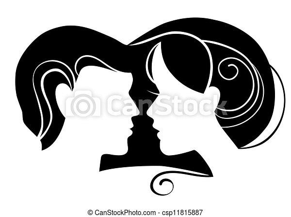 liefde, vrouw, silhouette, man - csp11815887