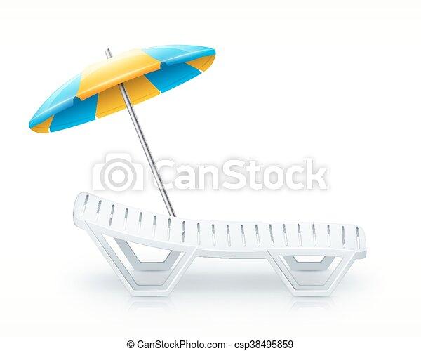 Liegestuhl mit sonnenschirm clipart  Liegestuhl, weißer strand, schirm, inventar. Schirm,... Clipart ...