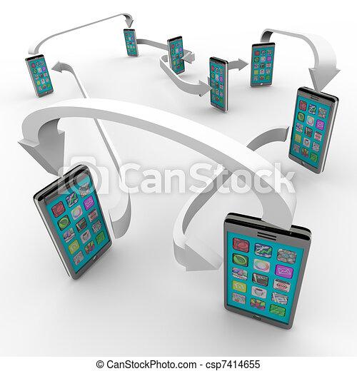 liens, téléphones, téléphone portable, connecté, communication, intelligent - csp7414655
