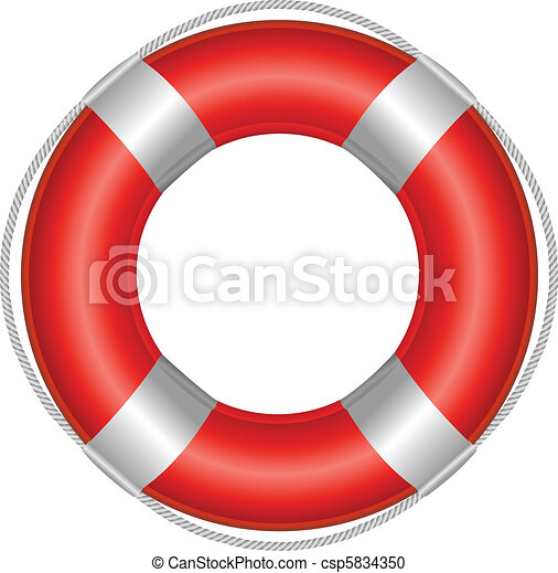 Red Life Buoy Isolated On White Background Vector