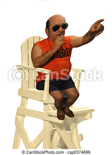 422ed05e418 Life guard pointing. Life guard in his chair blowing a whistle and ...