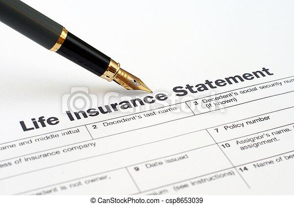 Life insurance statement  - csp8653039