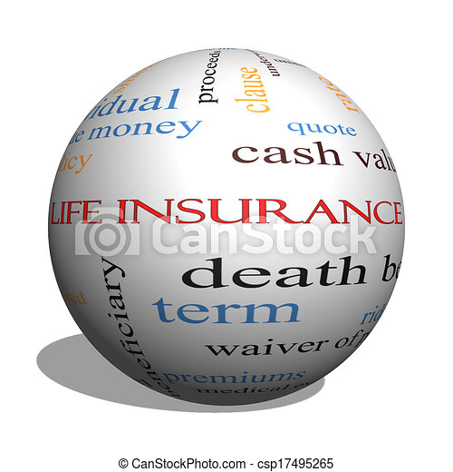 Life Insurance Word Cloud Concept on a 3D Sphere - csp17495265