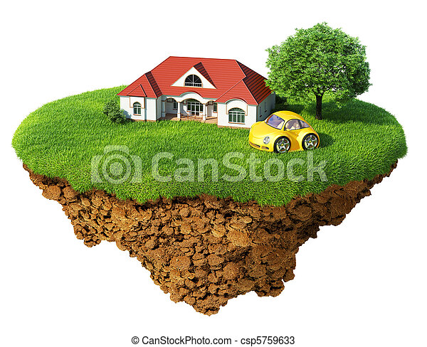 Life of a dream. Lawn with house, tree and sports car. Fancy island in the air isolated. Detailed ground in the base. Concept of success and happiness, idyllic ecological lifestyle. - csp5759633