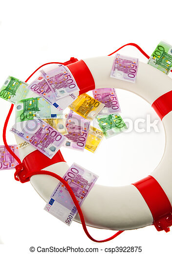 Life ring and the euro. Salvation of Greece. - csp3922875