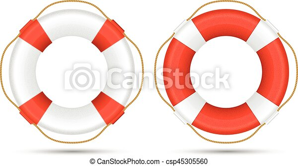 Life Ring White And Red Life Rings Life Buoys Vector