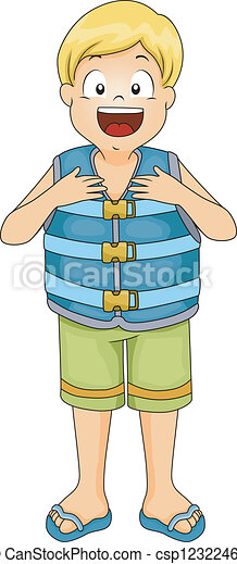 life vest boy illustration of a boy wearing a life vest