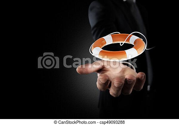 lifebelt., 概念, 助け, 事業保険, ビジネスマン, 把握, あなたの - csp49093288