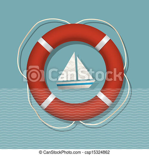 Lifebuoy and paper sailboat - csp15324862