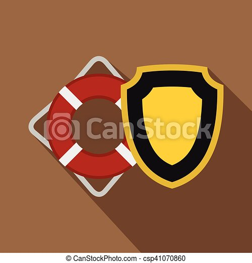 Lifebuoy and yellow safety shield icon, flat style - csp41070860