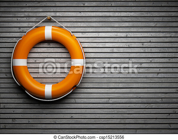 Lifebuoy attached to a wooden wall - csp15213556