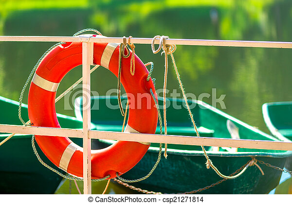 lifebuoy near the lake in the park - csp21271814