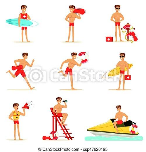 Lifeguard man character doing his job. Water rescue vector Illustrations - csp47620195