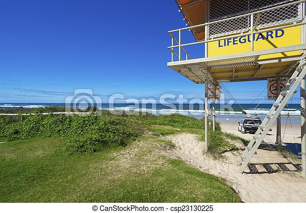 1ec4cc42b0b Lifeguard tower and car on australian beach. Lifeguard tower and car ...