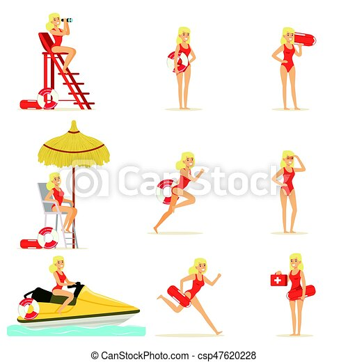 Lifeguard woman character doing his job. Water rescue vector Illustrations - csp47620228